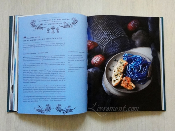 La cuisine des sorciers d'Aurélia Beaupommier Spaghettis de Schtroumpfs moléculés